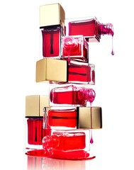 Dripping red nail polish and bottles on white background