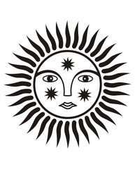 Sign of the sun. Black and white graphics. Symbol.