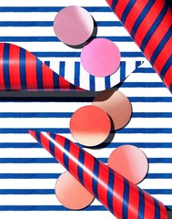 Pink and red cosmetics circles on striped background