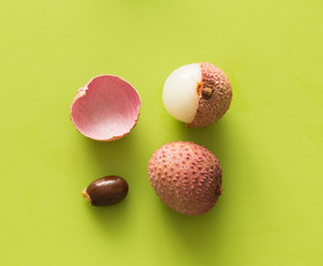 Lychee on the green background