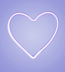 Heart-shaped light outline on blue background