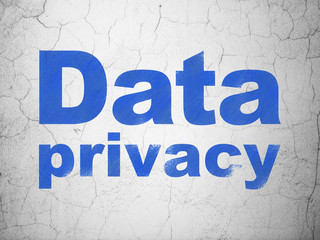Security concept: Blue Data Privacy on textured concrete wall background
