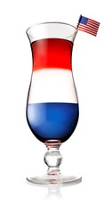 American flag in red, white and blue cocktail on white background