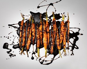 Carrots drizzled with balsamic vinegar