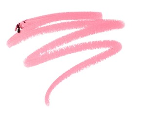 Squiggle of pink cosmetics on white background