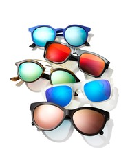 Sunglass frames with colorful lenses