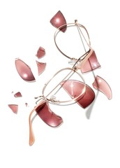 Sunglasses frame with cracked pink lenses