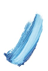 Smeared blue cosmetics on white background