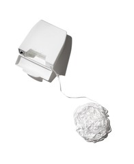 Ball of white dental floss with container box on white background