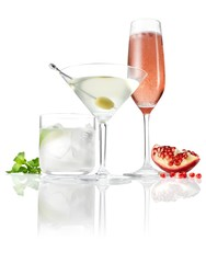 Three cocktails with garnish on white background