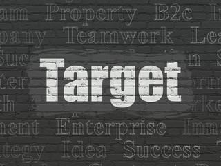 Business concept: Painted white text Target on Black Brick wall background with  Tag Cloud