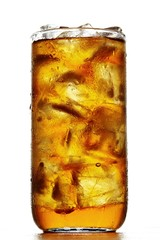 Iced tea with ice cubes in glass on white background