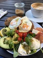Frühstück, Avocado, Ei, Schinken, Kaffee