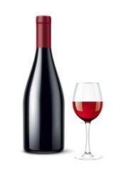 Wine bottle Wineglass