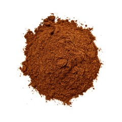Pile of brown coffee grounds on white background