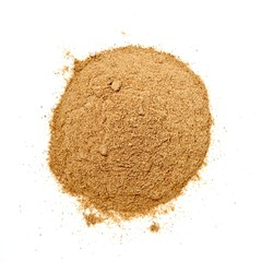 Pile of powdered brown spice on white background