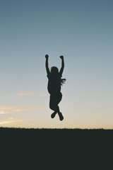 Little Girl Jumping Silhouette