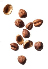 Brown nuts on white background