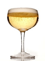 Champagne glass with bubbles