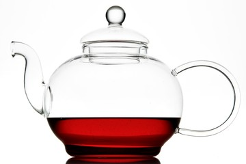 Close up of glass teapot with tea