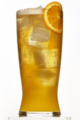Low angle beer glass with ice cubes and orange slice on white background