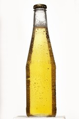 Beer bottle with condensation on white background