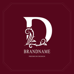Elegant Capital letter D. Graceful floral style. Calligraphic beautiful logo. Vintage drawn emblem for book design, brand name, business card, Restaurant, Boutique, Hotel, Cafe. Vector illustration