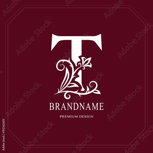 Elegant Capital Letter T Graceful Floral Style Calligraphic Beautiful Logo Vintage Drawn Emblem