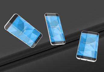 3 Smartphone Mockups on Gray Background 1
