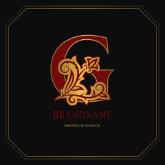 Elegant Capital letter G. Graceful floral style. Calligraphic gold beautiful logo. Vintage drawn emblem for book design, brand name, business card, Restaurant, Boutique, Hotel. Vector illustration