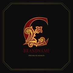 Elegant Capital letter C. Graceful floral style. Calligraphic gold beautiful logo. Vintage drawn emblem for book design, brand name, business card, Restaurant, Boutique, Hotel. Vector illustration