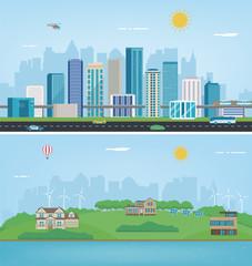 City landscape and suburban landscape. Building architecture, cityscape town. Modern city and suburb. Vector