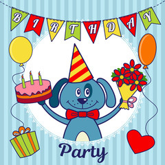 Birthday party invitation card or greeting card. A cartoon dog with a cake and a bouquet of flowers, balloons, a heart and a gift box. Vector illustration
