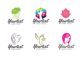 Collection of Beauty care logo. Set of vector body care logo and icons for salons, beauty and care. Women and beauty - Vector logo template