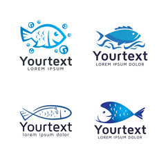 Collection of fish logos or icons design. Vector set of fresh fish and seafood logo design. Fresh seafood logo template