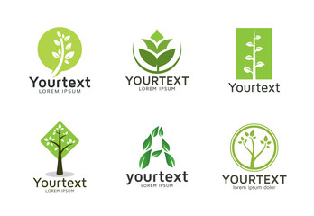 Collection of green logos or icons design. Vector set of nature and trees logo design. Environment and Health life logo template