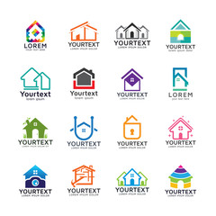 Collection of home and building logos. Real estate web icons set and vector logos. Set of real estate logo templates