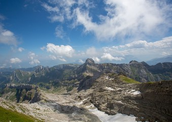 Landscape of the Alpstein and the Saentis which are a subgroup of the Appenzell Alps in Switzerland