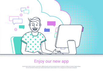Glad man is working with computer. Flat fun line vector illustration of happy smiling student studying or working at home desk. Young guy enjoying website or pc app, he is glad to reading email news