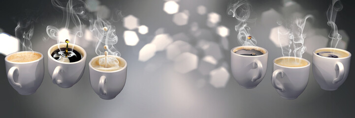 3d Lots of coffee cups floating in zero gravity. Soft slightly pink abstract background with blurred lights , cat eye bokeh with geometric hexagonal iris. Long horizontal format.