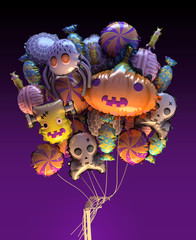 3d Halloween party balloons. Includes pumpkin, spider, spider web, zombie head, zombie finger, skull, brain and two kind of candy