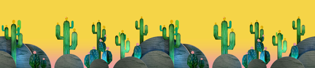 3d cartoon stylized decorations. Mexican theme.  Flat hills with cactuses . Wooden theatrical scenery style, or layered as pop-up books. Seamless border pattern on vivid yellow background..