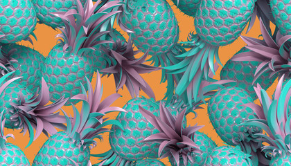 3d rendering of bright tiki style seamless pattern with pineapples. Summer fun background. Trendy poster with vivid colors, pastel blue.