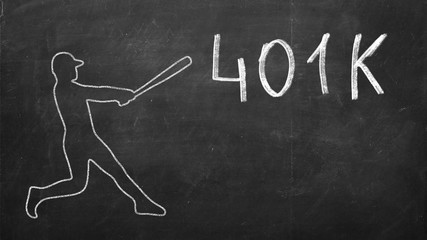 the baseball player beats the word 401K. Money concept retirement