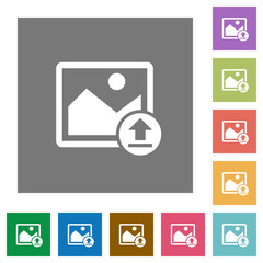 Upload image square flat icons