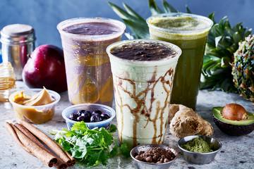 three vegan smoothies with matcha, acia and guarana