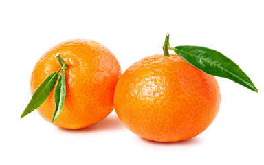 Tangerine or clementine isolated on white background