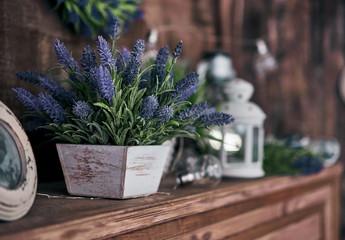 pot of lavender on the shelf