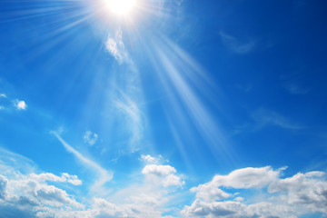 Sun and clouds in the blue sky