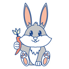 line color adorable rabbit wild animal with carrot in the hand